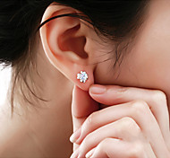 cheap -Women's Stud Earrings Crystal Fashion Sterling Silver Crystal Silver Four Leaf Clover Jewelry Wedding Party Daily Costume Jewelry