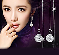 cheap -Men's Women's Drop Earrings Synthetic Diamond Elegant Fashion Sterling Silver Crystal Silver Imitation Diamond Ball Jewelry Wedding Party