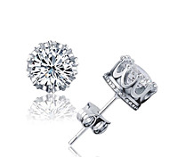 cheap -Men's Women's Stud Earrings Crystal AAA Cubic Zirconia Basic Fashion Simple Style Sterling Silver Crystal Zircon Cubic Zirconia Silver