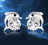 cheap -Men's Women's Stud Earrings Crystal Fashion Sterling Silver Crystal Silver Dolphin Animal Jewelry Wedding Party Daily Costume Jewelry