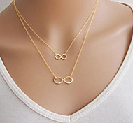 cheap -Women's Infinity Pendant Necklace - Basic Double-layer Infinity Silver Golden Necklace For Party Daily Casual