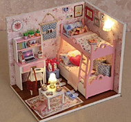 cheap -Creative Gifts Diy Craft Gift Of Birthday Hut Model DIY Dollhouse Including All Furniture Lights Lamp LED