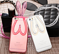 Fashion Cute Transparent Silicone Rabbit Ears Lanyard Back Stand Case Cover For iPhone 6 Plus/6S Plus (Assorted Colors)