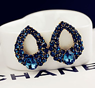 Women's Fashion Water Droplets Pattern Blue Zircon Stud Earrings
