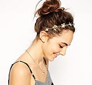cheap -Women Fashion Metal Golden Flower Pearl Hair Bands Hair Accessories 1pc