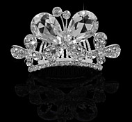 Small Cute Shining Butterfly Rhinestone Alloy Platinum Plating Wedding Crown Tiaras Inserting Comb for Women 7CM