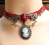 cheap -Women's Choker Necklace / Pendant Necklace / Gothic Jewelry  -  Lace Unique Design, Tattoo Style, European Red Necklace For Wedding, Party, Daily