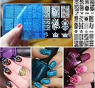 Недорогие -Лак для ногтей искусство кружева скребок штамповки пластины изображения маникюрный набор инструмента трафарета