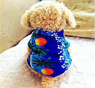 Недорогие -Собака Футболка Одежда для собак Цветочные / ботанический Синий Хлопок Костюм Для домашних животных Муж. Праздник Мода