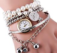 Damen Armband-Uhr Modeuhr Quartz Legierung Band Perlen Silber Gold