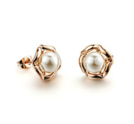 HKTC Concise Jewelry Shinning 18k Rose Gold Plated White Simulated Pearls Stud Earrings