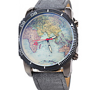 JUBAOLI Homens Relógio de Pulso Quartzo Relógio Casual Couro Banda Padrão Mapa do Mundo Preta Azul
