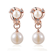 HKTC Concise Jewelry 18k Rose Gold Plated Shinning White Simulated Pearls Clip-on Earrings