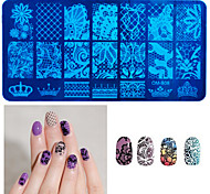 cheap -1Pcs New Black Flower Lace Nail Stamping Plates Stainless Steel Nail Art Stamp Template Manicure Nail Tools
