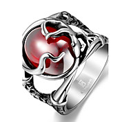 cheap -Men's Statement Ring Red Stainless Steel Zircon Cubic Zirconia Others Skull Unique Design Fashion Christmas Gifts Costume Jewelry