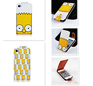 cheap -Yellow Cartoon Pattern Up-down Turn Over PU Leather Full Body Case for iPhone 4/4S