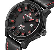 Недорогие -NAVIFORCE Мужской Спортивные часы Модные часы Наручные часы Календарь Секундомер Защита от влаги Ударопрочный Кварцевый Кожа ГруппаCool