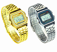 cheap -Men's Women's Couple's Digital Wrist Watch Casual Watch Stainless Steel Band Charm Dress Watch Fashion Silver Gold