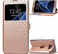cheap -Case For Samsung Galaxy Samsung Galaxy S7 Edge Card Holder with Stand with Windows Flip Full Body Cases Geometric Pattern PU Leather for