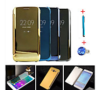 Clear View Window Smart Cover Fundas for Galaxy A7(2016)/A5(2016)/A9/A8/A7/A5/Note 5/Note 4+Stylus Anti-dust Plug