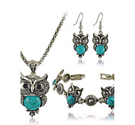 cheap -Women's Turquoise Jewelry Set Earrings Necklace Bracelets & Bangles - Luxury Cute Style European Owl Black Red Green Blue Jewelry Set For