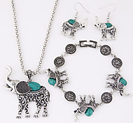 Women's Jewelry Set Luxury Cute Style European Party Birthday Engagement Gift Daily Casual Resin Turquoise Alloy Elephant Animal Earrings