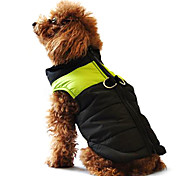 Dog Coat Puffer / Down Jacket Vest Dog Clothes Winter Warm Casual/Daily Keep Warm Color Block Yellow Red Black/Pink Black/Green Black/Blue