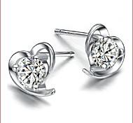 cheap -Women's Heart Sterling Silver Zircon Silver Stud Earrings - Heart White Purple Heart Earrings For Wedding Party Daily Casual Sports