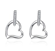 lureme® Fashion Style Silver Plated Hollow Heart Shaped Stud Earrings