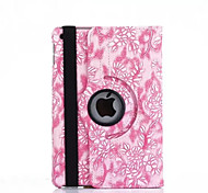 cheap -Case For iPad Air 2 with Stand Auto Sleep / Wake Origami 360° Rotation Full Body Cases Flower PU Leather for iPad Air 2