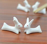 2 Pcs Chopsticks Holder Ceramic Porcelain Cute Rabbit Kitchen Supplies