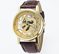 cheap -Men's Quartz Wrist Watch Skeleton Watch / Hot Sale PU Band Casual Black Brown