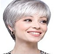cheap -New Arrival Fashion Grey White Wig Short Straight Woman's Synthetic Wigs Hair Wig Full Wig for Daily