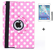 360 Degree Round Dots PU Leather Flip Cover Case for iPad Air 2 (Assorted Colors) +Screen Protector Film Stylus Pen