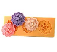 Недорогие -Три отверстия Продолговатые Цветок силиконовые формы Фондант Пресс-формы Сахар Craft Инструменты Смола цветы Плесень пресс-формы для тортов