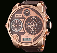 OULM® Men's Three Time Zones Military Watch Japanese Quartz Analog & Digital Leather Strap Cool Watch Unique Watch