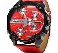 Men's Military Watch Quartz Calendar / date / day Three Time Zones Dual Time Zones Leather Band Luxury Cool Black Blue Red