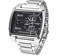 Недорогие -Муж. Наручные часы Кварцевый Календарь Нержавеющая сталь Группа Кулоны Серебристый металл
