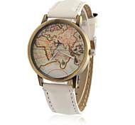 baratos -Homens Relógio de Pulso Relógio de Moda Quartzo / Relógio Casual PU Banda Vintage Casual Padrão Mapa do Mundo Legal Preta