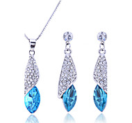 cheap -Women's Sterling Silver / Zircon / Rhinestone Drop Jewelry Set Earrings / Necklace - Bridal / Elegant / Fashion Purple / Rose / Blue