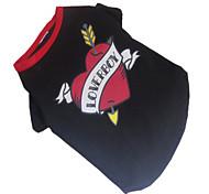 Недорогие -Собака Футболка Одежда для собак С сердцем Черный/Красный Хлопок Костюм Для домашних животных