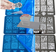 cheap -10pcs  Lace Stamping Plate  Polish Nail Art Transfer Template with Square Transparent Stamp BC1-10