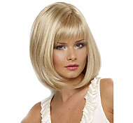 cheap -Synthetic Wig Straight Bob Haircut / With Bangs Synthetic Hair Heat Resistant / Side Part Blonde Wig Women's Short Natural Wigs Capless