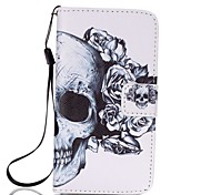For Samsung A3(2017) A5(2017) Card Holder Wallet with Stand Case Full Body Case Skull Hard PU Leather