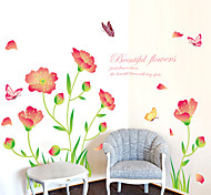 Romance Beautiful Flowers Butterfly Wall Stickers Fashion / Florals / Landscape Wall Stickers Plane Wall Stickers,PVC