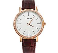 SINOBI® Fashion Diamond Watch Women Rose Gold Luxury Leather Clock Female Quartz Ladies Wristwatches Cool Watches Unique Watches