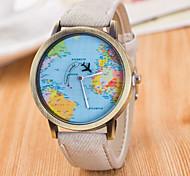 Homens Relógio de Pulso Quartzo / Couro Banda Vintage Casual Padrão Mapa do Mundo Preta Branco Azul Vermelho Marrom Verde Cinza Rosa