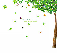 cheap -Green Tree Flying Leaves With Butterfly Wall Stickers Leisure Fashion TV Wall Decals Removable PVC Wall Art