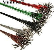 Anmuka fishing line 50pcs steel wire leader with swivel snap silver/green/red/black/brown 16cm/18cm/22cm/24cm/28m