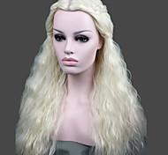 abordables -Mujer Pelucas sintéticas Sin Tapa Largo Rizado Blanco Raya en medio Peluca con trenzas Peluca de Halloween Peluca de carnaval Las pelucas
